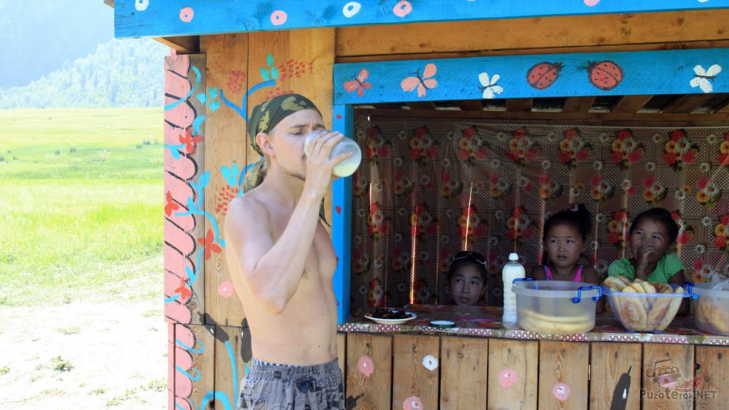 Шатун пьет молоко, купленное у алтайцев