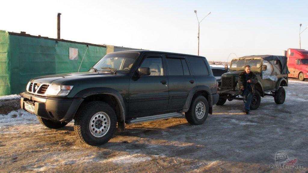 Ниссан Патрол и ГАЗ-69 на жесткой сцепке
