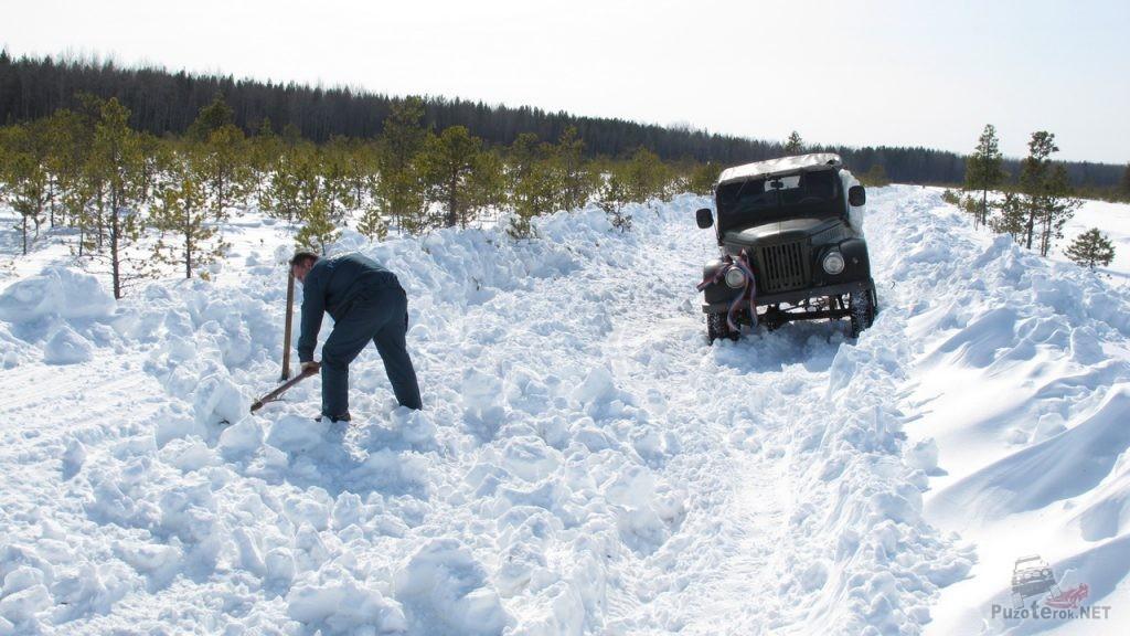 Расчистка зимника для проезда