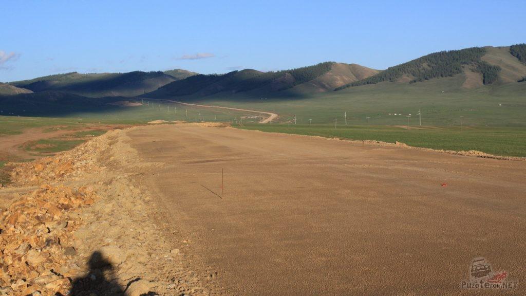 Строящаяся дорога в Монголии