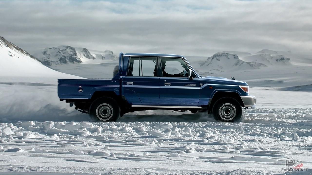 Пикап со сдвоенной кабиной, Toyota Land cruiser  79 в снегах исландии