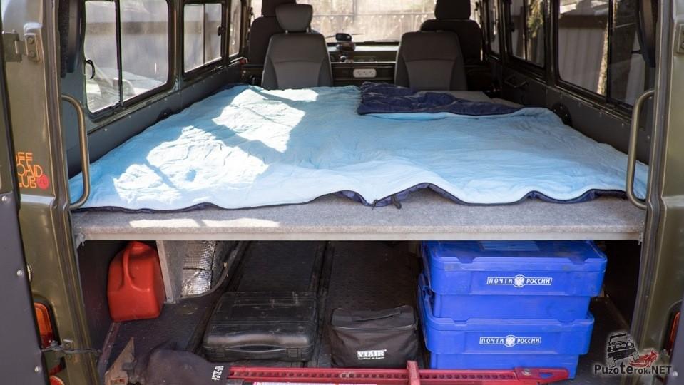 Спальное место в уаз буханка позволяет спать в комфорте