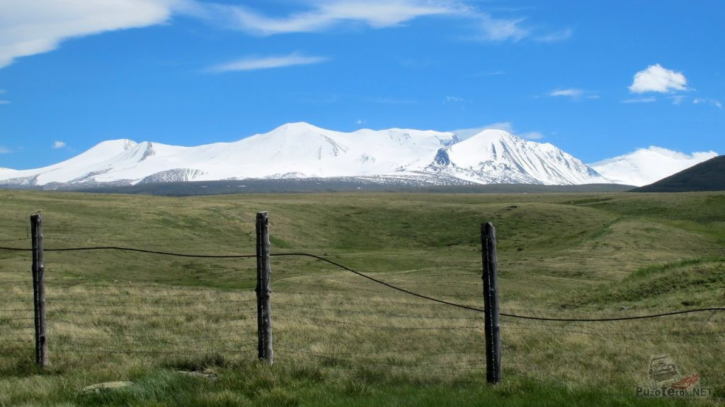 Заснеженные горы Монголии
