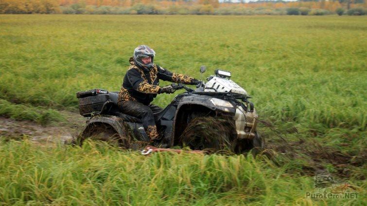 Езда на квадроцикле по болоту
