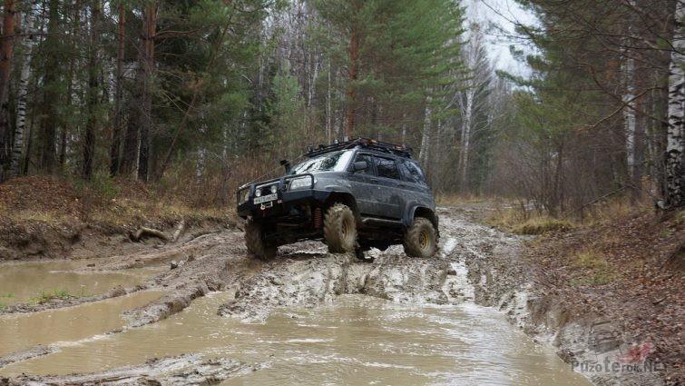 Подготовленный УАЗ Патриот едет по лесной дороге