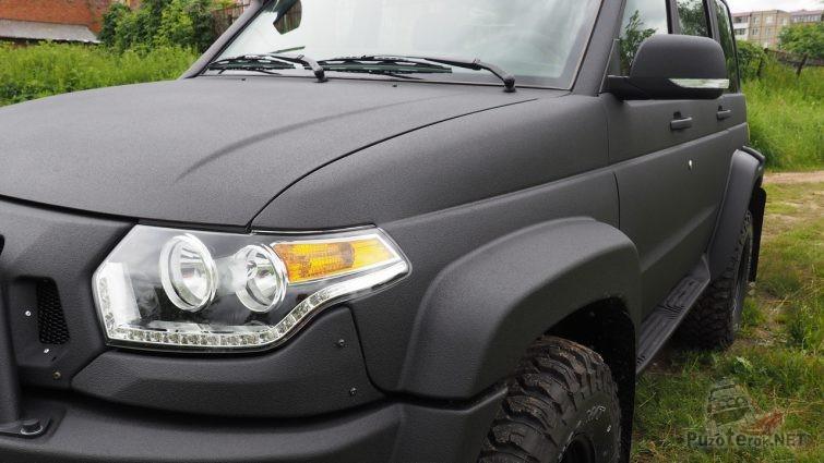 Цельнолитое композитное переднее крыло с расширителем на УАЗ Патриот
