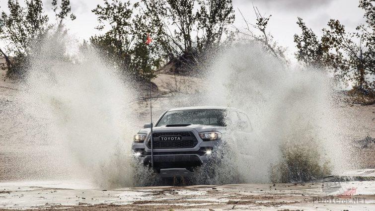 Внедорожник Тойота мчится по руслу мелкой речки