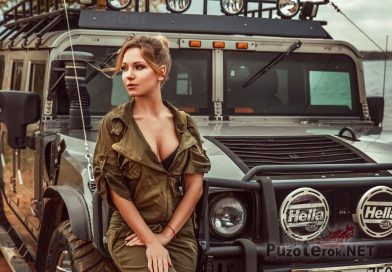Девушка в защитного цвета комбезе с Хаммер H1