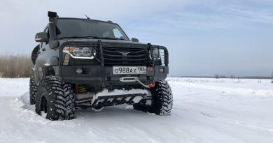 Езда по снегу на подготовленном УАЗ Патриот