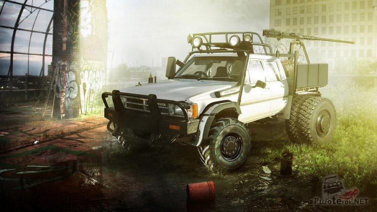 Пикап для зомби апокалипсиса с багажником на крыше и пулемётом в кузове