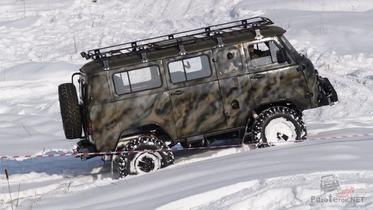 Подготовленный УАЗ на соревнованиях в снегу