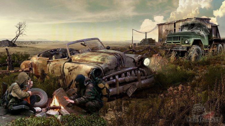 Сталкеры у костра возле разбитой машины