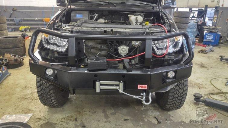 Бампер РИФ на новый УАЗ Патриот со встроенной лебёдкой
