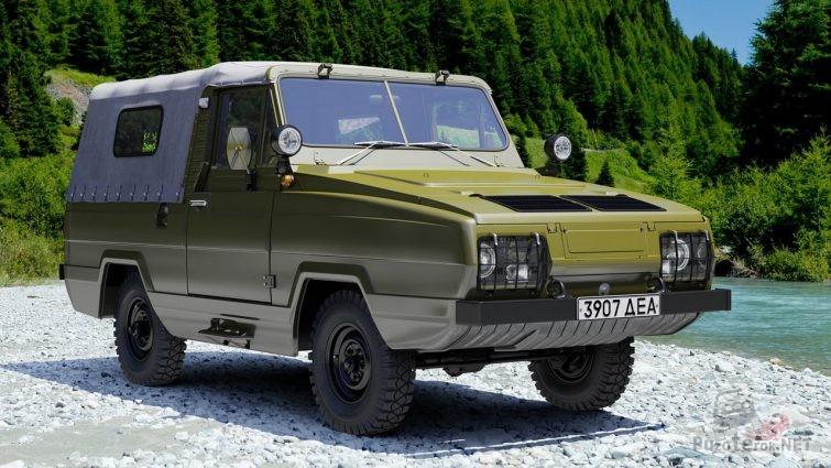 Амфибия УАЗ-3907 на берегу горной реки