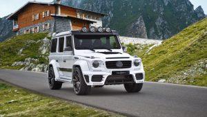 Белый Mercedes Benz Gelandewagen Mansory в альпах