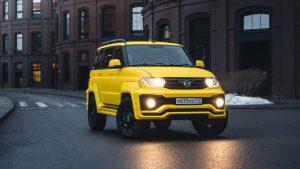 Городской жёлтый УАЗ Патриот с АКПП