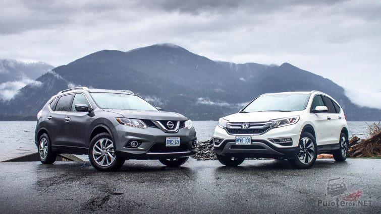 Honda CR-V и Nissan x-Trail на берегу фьорда