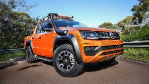 Оранжевый Volkswagen Amarok v6 aventura 2018 со шноркелем