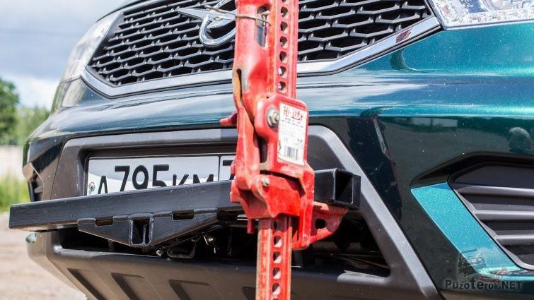 Приспособление в штатный бампер УАЗ Патриот для использования хай-джека