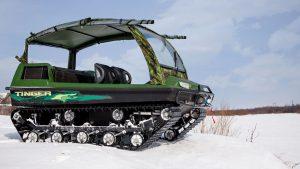 Использование вездехода Тингер на снежной целине