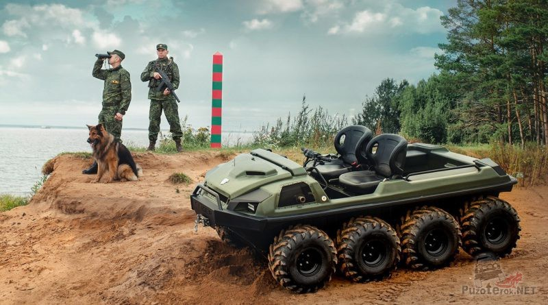 Пограничники с собакой на заставе и вездеход Tinger Armor