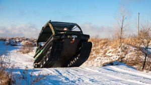 Снегоболотоход Тингер в прыжке