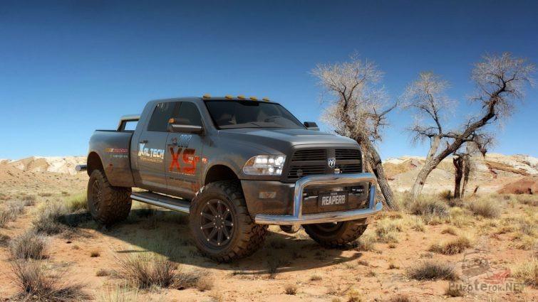 Подготовленный Dodge Ram с кенгурятником в саванне