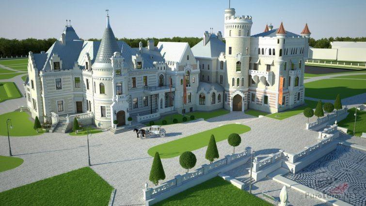 Вид старинного замка в Муромцево в 3D