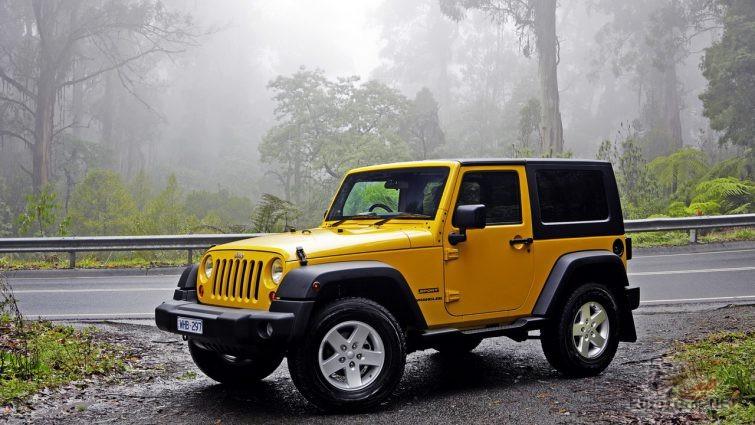 Жёлтый Jeep Wrangler на обочине дороги в лесу