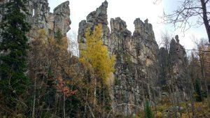 Лес у подножия отвесных скал
