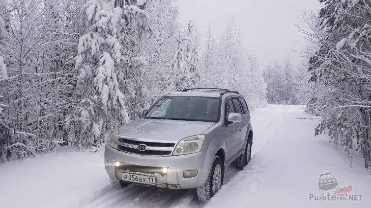 Внедорожник на лесной дороге зимой