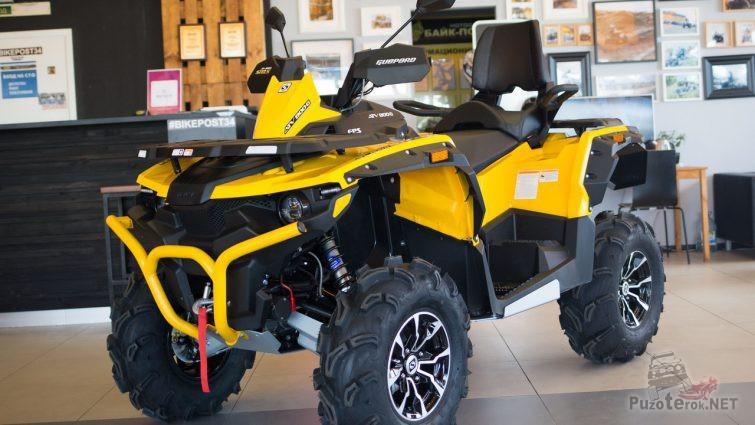 Жёлтый квадроцикл марки Stels Guepard 800