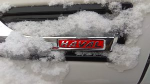 Эмблема Haval в снегу