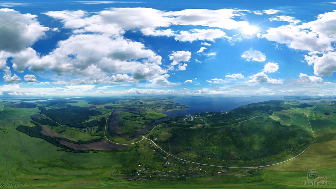 Аэропанорама национального парка Самарская лука