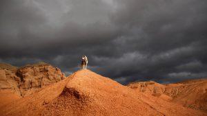 Лайка на красной скале
