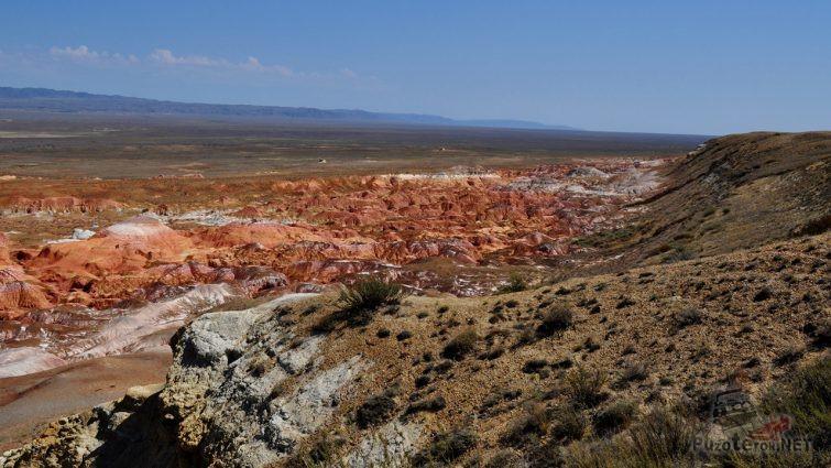 Панорама пёстроцветных глинистых сопок