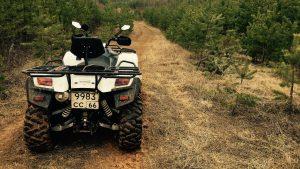 Stels ATV 600 gt на узкой лесной дороге