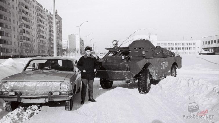 Архивное фото учёного зимой в Припяти, 1986-87