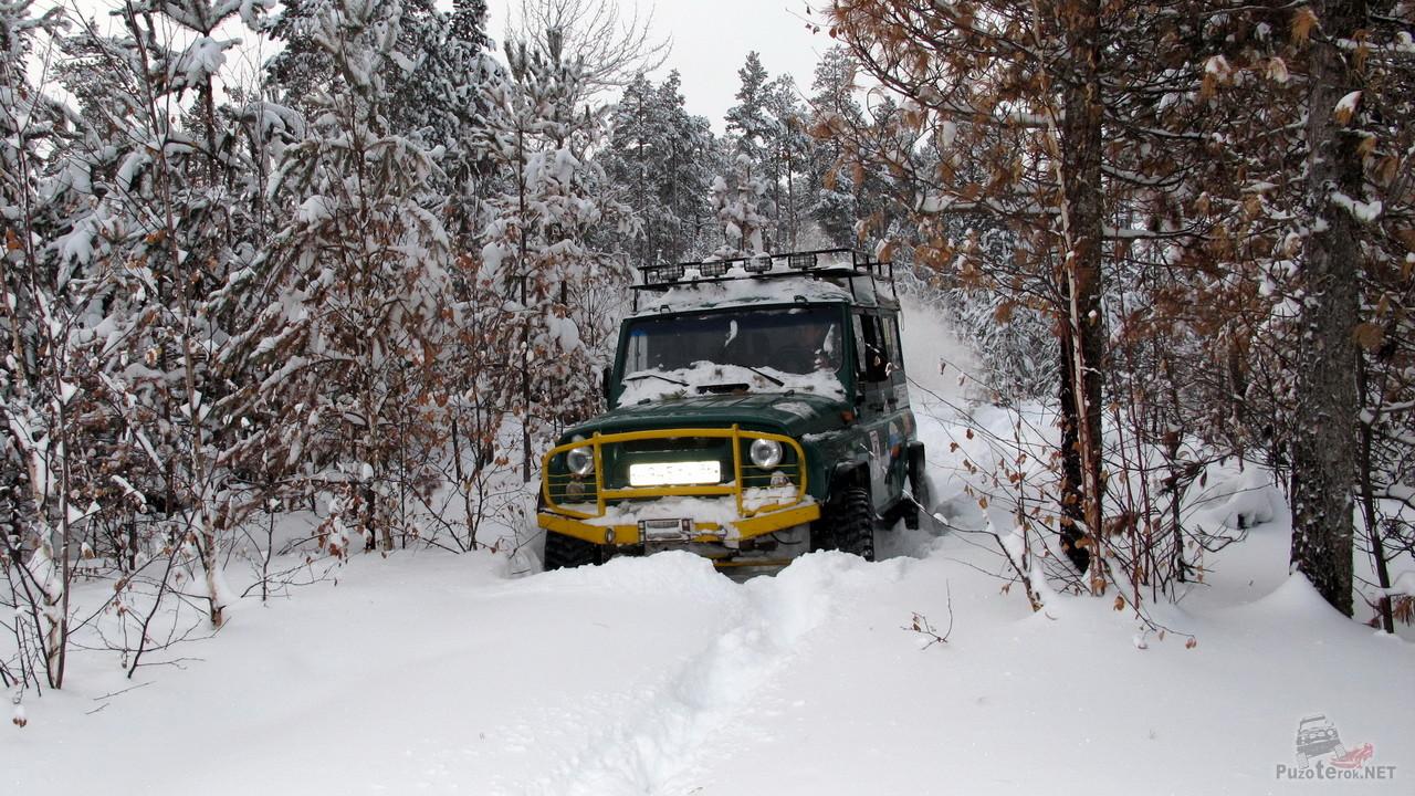 УАЗ едет по заснеженной лесной дороге
