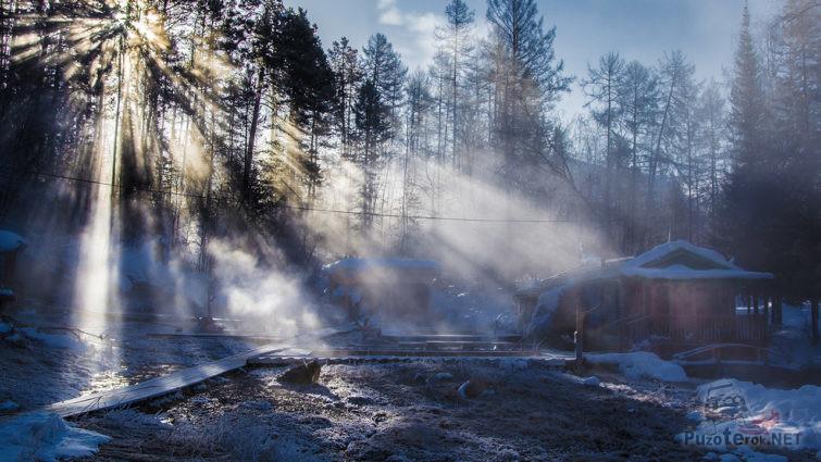 Раннее зимнее утро на источниках