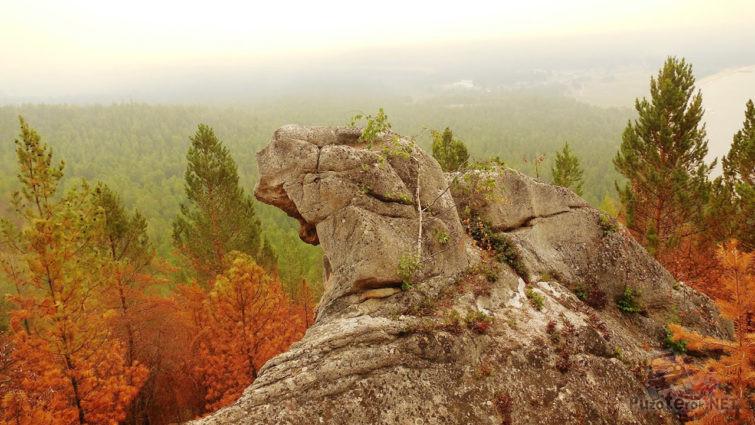 Скала над осенним лесом в туманной дымке