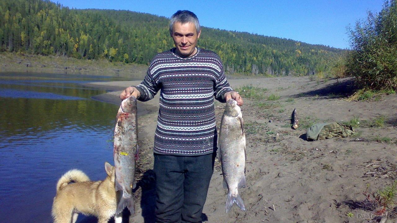 Рыбак с уловом — два пятикилограмовых Чира