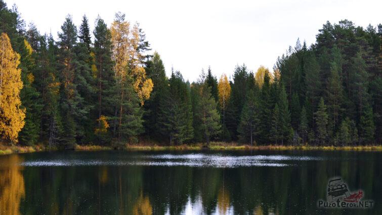Живописное озеро на месте карстового провала