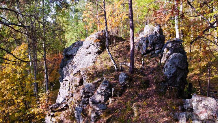 Осенний лес среди скал
