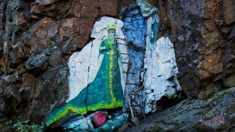 Рисунок на скале по мотивам сказов Бажова