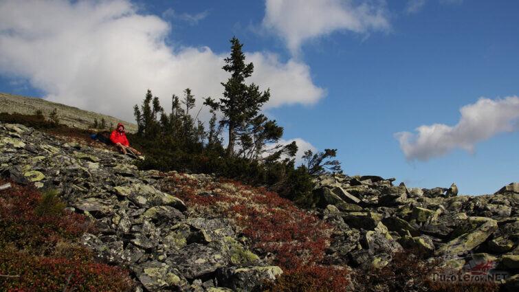 Турист в высокогорной тундре Северного Урала