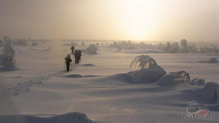 Туристы на лыжах идут по заснеженному плато Кваркуш